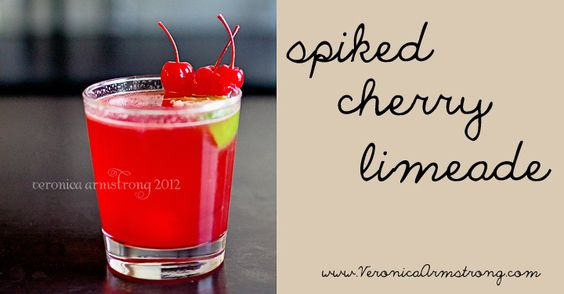 Spiked Cherry Limeade via Veronica Armstrong. Husband and I need to try this! It's 10:30am, too early? Mmmm.