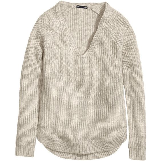 H&M Rib-knit jumper (37 BRL) ❤ liked on Polyvore featuring tops, sweaters, jumper, shirts, h&m, natural white, h&m shirts, rib knit sweater, white top and h&m sweater