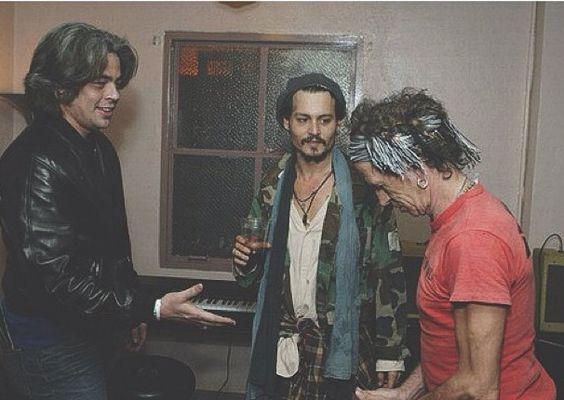 Three of the coolest people ever: Benicio del Toro, Johnny Depp, and Keith Richards