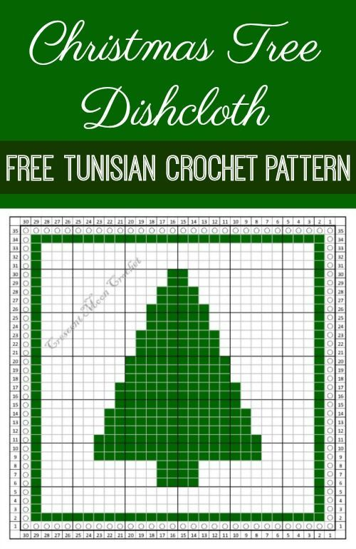 This Christmas Tree Dishcloth Is Perfect For Your Holiday Kitchen Makes A Great Gift Too Tunisian Crochet Patterns Tunisian Crochet Crochet Christmas Trees