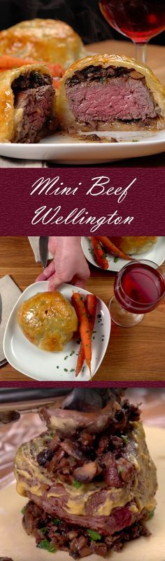 Mini Beef Wellington Recipe | Impress guests or the family with this sophisticated dish. With some careful preparation time, you can make this impressive meal at a fraction of the cost of the restaurant version. Key components include filet mignon, baby bella mushrooms and puff pastry. Give it a try and click for the recipe and short how-to video. Bon appetit! #valentinesday #familydinner #recipes #dinner