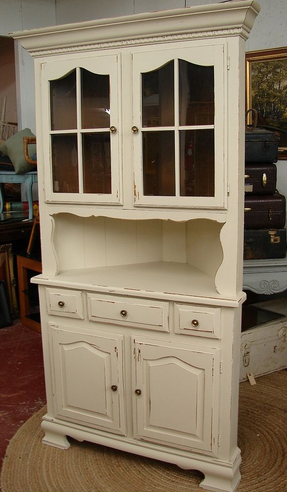 Reclaimed Vintage White Shabby Chic Cottage Painted Corner Hutch China Cabinet Cupboard. $445.00, via Etsy.