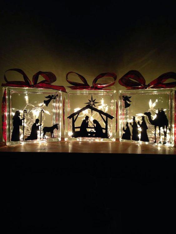 3 piece Glass Block Nativity Set by MorrisMonogramming on Etsy