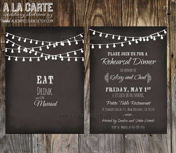 Printed String Lights Chalkboard Inspired Wedding Rehearsal Dinner