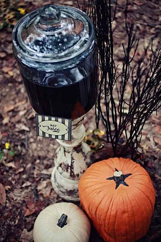 BAT JUICE! Cute haunted forest children's halloween party via Kara's Party Ideas #hauntedforest #halloweenparty #batjuice #drink