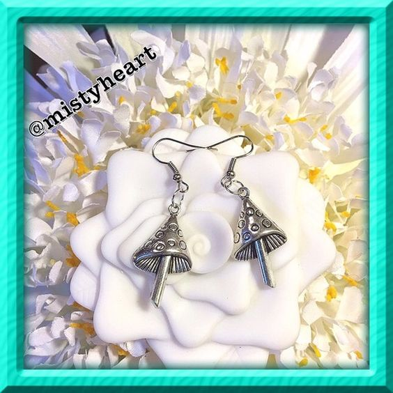 """Mushroom Earrings  Brand new. Handmade by me. Made of alloy and Tibetan Silver. 1"""" Long by 3/4"""" Wide. Jewelry of the Future Jewelry Earrings"""