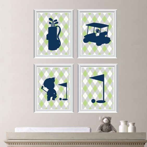 Baby Boy Nursery Art Print  Golf Nursery Art by RhondavousDesigns2