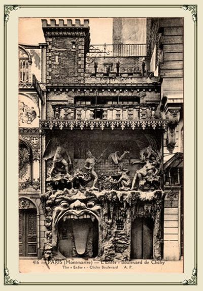 Eugene Atget's 1898 famous photograph of Cabaret de L'Enfer's facade at 53 boulevard de Clichy, Paris