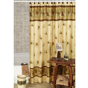 Pinehaven Rustic Pine Cone Shower Curtain and Hooks, Touch of ...