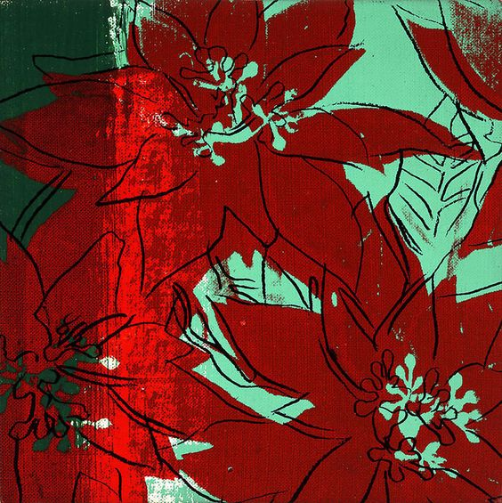 Poinsettias by Andy Warhol, 1982, silkscreen ink on canvas, 9 x 9 inches - Paul Kasmin Gallery