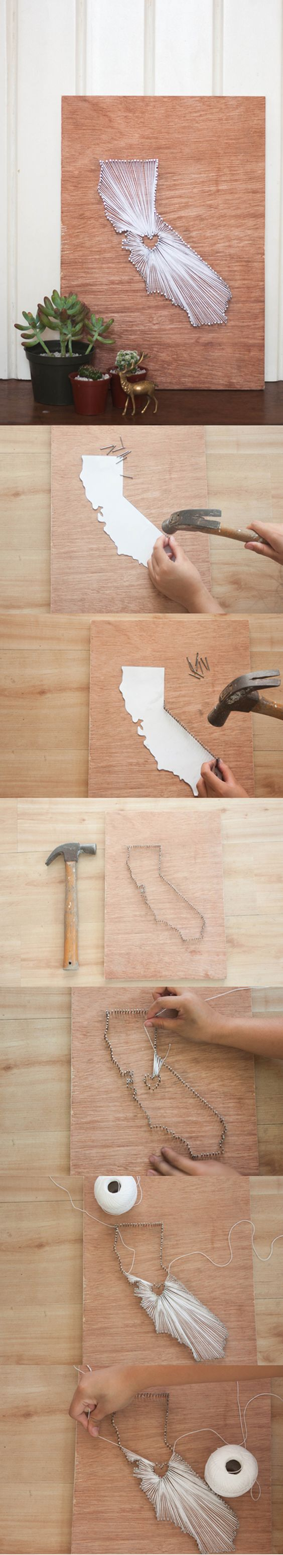 Cool DIY State String Art | Simple and Inexpensive DIY Home Decor Signs and Projects by DIY Ready at  http://diyready.com/diy-home-decor-under-an-hour/