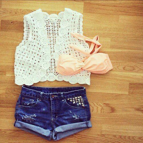 Love: Outfit Idea, Beach Outfit, Fashion Style, Dream Closet, Crochet Vest, Summer Outfits, Summer Time