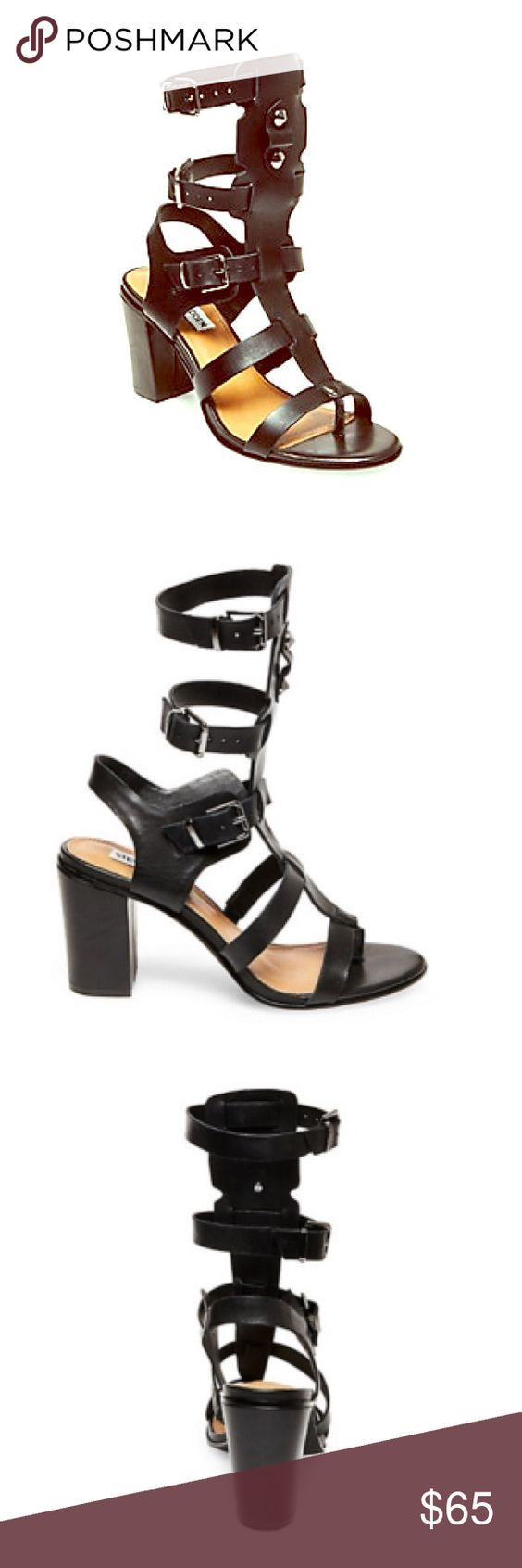 🆕 T-Strap Gladiator Sandals Beautiful black leather caged sandals with short chunky heel! (only 3 inches!). Steve Madden Shoes Sandals