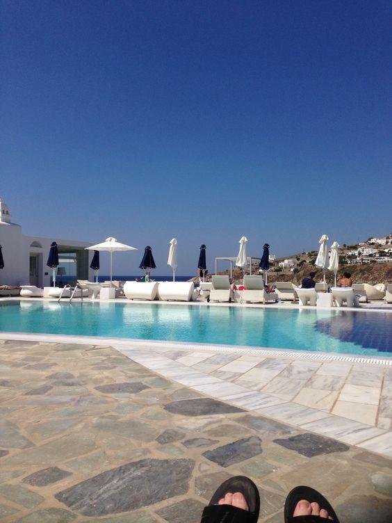 The pool at the Petasos Beach Resort- Mykonos Greece