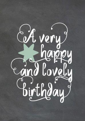 Mooie en stoere verjaardagskaart met krijtbord print, ster en hippe Hand Lettering tekst, verkrijgbaar bij #kaartje2go voor €1,89