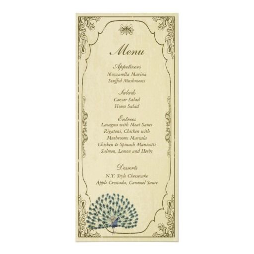 25 Vintage Peacock Wedding Menus with bulk discount.  Part of a matching wedding theme kit from http://www.zazzle.com/25_vintage_peacock_wedding_menu_tags_rackcard-245413755482782905?rf=238505586582342524