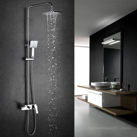 colonne de douche homelody colonne de douche carr robinet pommeau douchette interieur. Black Bedroom Furniture Sets. Home Design Ideas