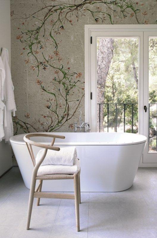 Tapete Im Bad Und Der Dusche In 2020 Deko Wand Wandtapete Badgestaltung