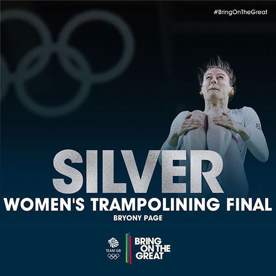 She's only gone & done it! Speechless! What a fantastic day for Bryony Page to grab silver in the women's trampolining final!! Also a huge round of applause for Kat Driscoll, finishing in 6th!   #BringOnTheGreat #Rio2016 #Trampolining