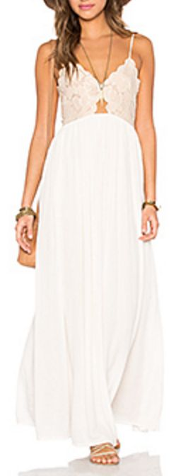 Cream Lace Keyhole Maxi Dress