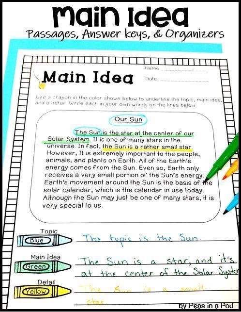 How To Teach Main Idea Peas In A Pod Lessons Main Idea Worksheet Teaching Main Idea Nonfiction Main Idea Main idea worksheets grade 5