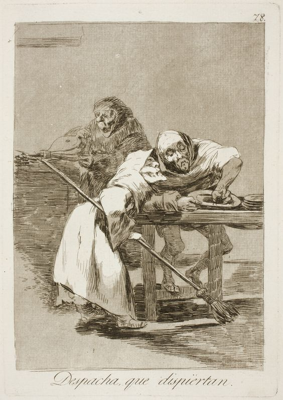 "Francisco de Goya: ""Despacha, que dispiértan"". Serie ""Los caprichos"" [78]. Etching and aquatint on paper, 212 x 150 mm, 1797-99. Museo Nacional del Prado, Madrid, Spain"