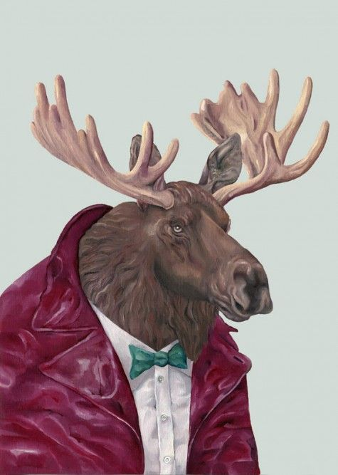 Moose With A Bow Tie And Jacket: