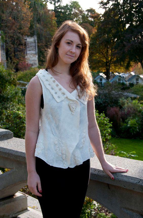 WHITE WINDOWS nuno felt vest - women's size medium