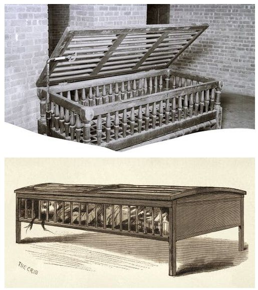 Utica Crib - An adult-size restraint bed used in a New York insane asylum, 1882.: