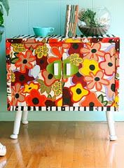 side table upholstered with fabric & tacks