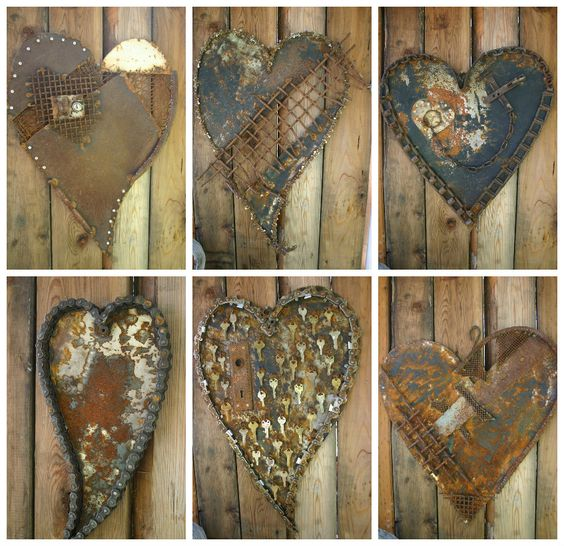 Oregon based recycled metal artist and art quilter Kathi from the blogKathi's Garden Art Rust-n-Stuff has made these wonderful hearts from recycled metal by using collage technique. Love the old, rustic and rusty look & feel of those hearts!…