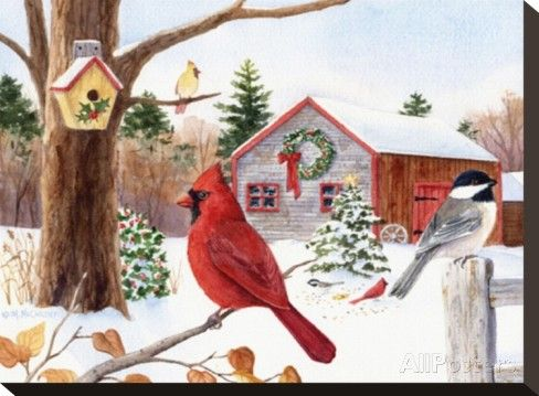 Cardinal Chikadees and Christmas Farm Stretched Canvas Print by Maureen McCarthy at AllPosters.com