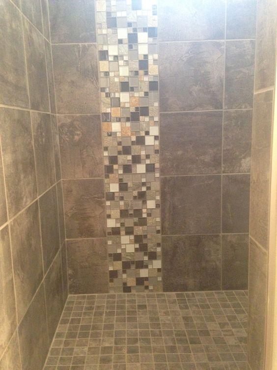 Custom tile shower in a porcelain slate looking tile with - Bathroom tile vertical stripe ...
