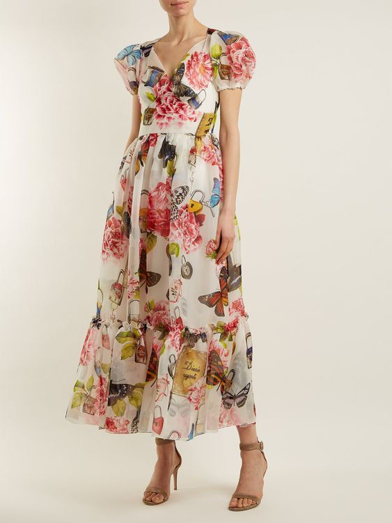 Butterfly and padlock-print midi dress | Dolce & Gabbana | MATCHESFASHION.COM UK