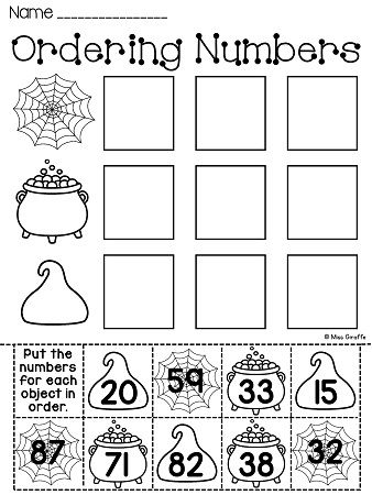 Ordering numbers, First grade and Worksheets on Pinterest
