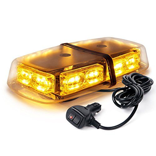 Xprite High Wattage Gen 3 Security Law Enforcement Emergency LED Mini Roof Top Strobe Light Bar with Magnetic Base White /& Red