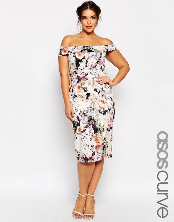 Image 1 of ASOS CURVE WEDDING Bardot Floral Off Shoulder Pencil Dress: