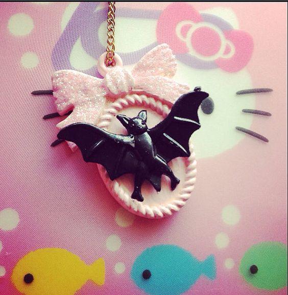 Pastel cameo necklace pendant bat pink jewelry by KagomeCharm, $8.00
