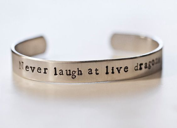 The Hobbit Quote Bracelet: Never Laugh at Live Dragons #Tolkien #Jewelry #Quotes
