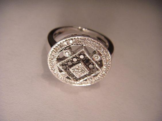 Gorgeous Estate 14K White Gold Black Diamond by ggemsonline, $795.00