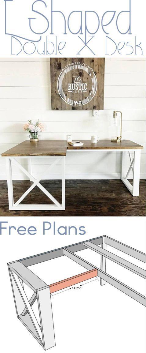 L Shaped Double X Desk Woodworking Desk Plans Woodworking Plans Diy Diy Furniture Plans