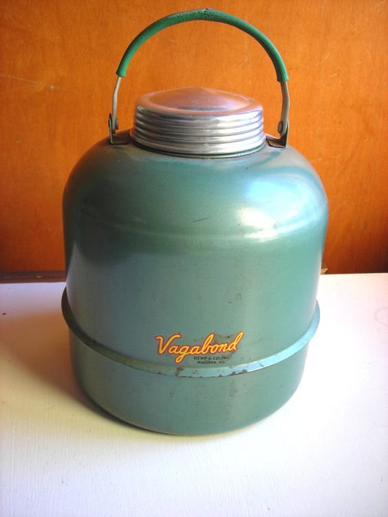Vintage Camping Thermos - Vagabond Metal Cooler (i had one that had a little spout on the side, too)