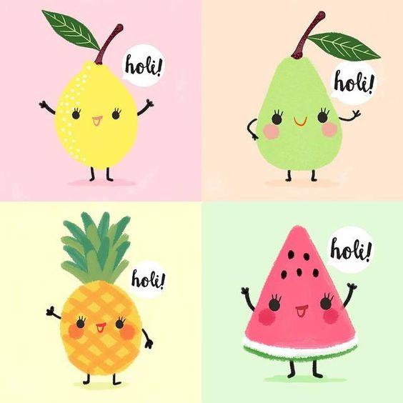 Kawaii fruits , lemon, pear, pineapple, and watermelon