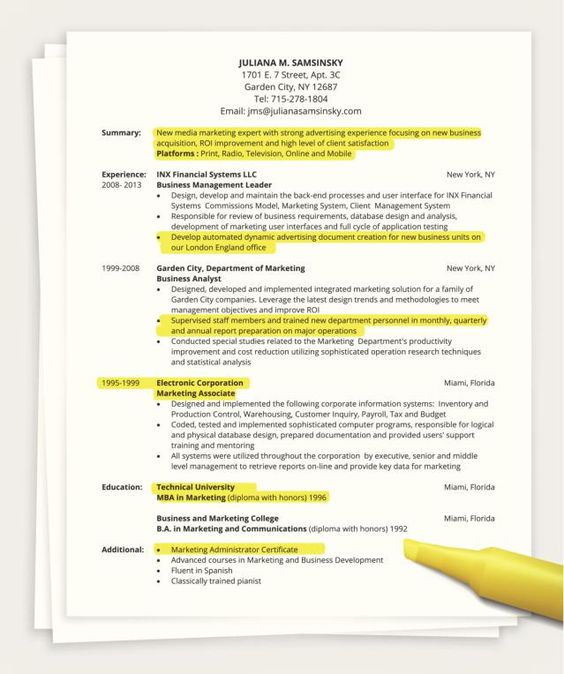 resume summary and page on