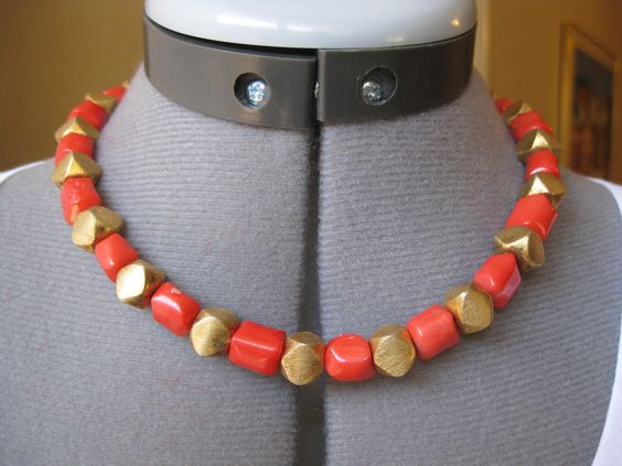 """Item 0013P  17"""" Orange coral, gold filled beads, gold filled toggle clasp. $25."""