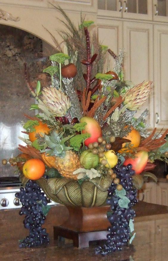 Artificial fruit arrangements silk flowers and fruits is for Kitchen arrangements photos