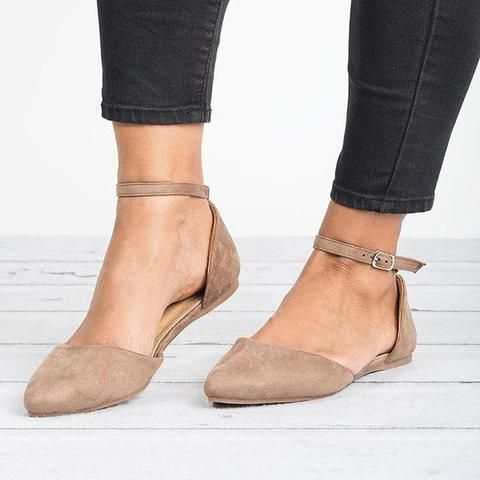 Comfy Pointed Toe Flats Ankle Strap