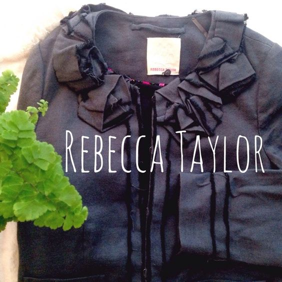 Rebecca Taylor Charcoal Ruffle Jacket Rebecca Taylor Ruffle Jacket. Feminine and fun, this jacket is versatile with a major dose of cute! Gently used. Some of the ruffles are frayed but that's the look. Hook and eye closures. Size 6. But runs small. That's why I listed as a 4. Rebecca Taylor Jackets & Coats