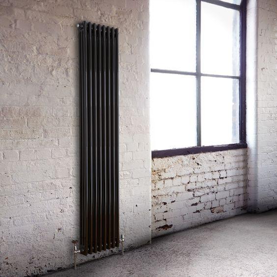 Milano Windsor - traditioneller 3 Säulen Röhrenheizkörper in Schwarz vertikal 1800mm x 383mm