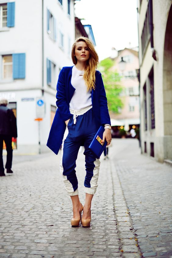 kristina in zurich wearing: outwear by me blue coat, by malene birger pants, YSL shoes,